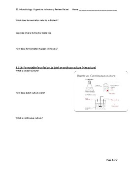 Review Packet for Microbiology: Organisms in Industry