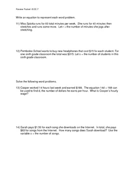 Review Packet 1: for Solving One and Two Step Equations with Word Problems