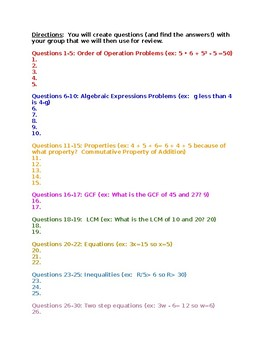 Review Project- properties, GCF, LCM, equations, inequalities, two-step equation