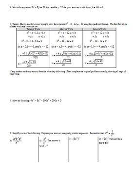 Review Quadratics and Factoring Spring 2013 (Editable)