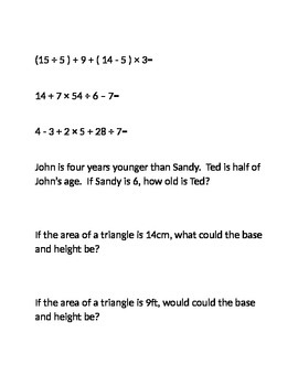Review Questions: Expressions and Formulas