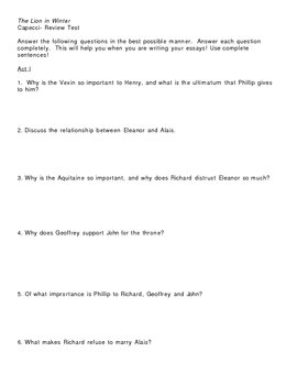 Review Questions for The Lion in Winter
