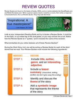 Review Quotes / Book Reviews - 8 page, step-by-step, how to write a great review