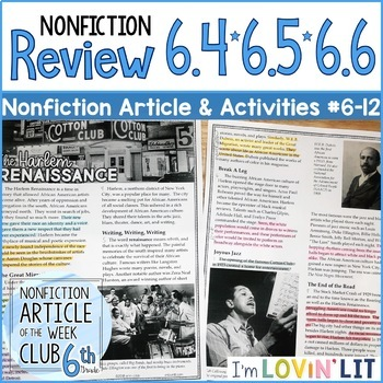 Review RI.6.4, RI.6.5, RI.6.6 | Harlem Renaissance Article #6-12