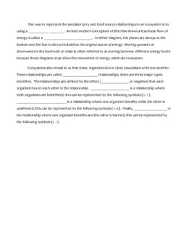 Review Sheet - Ecology (Cloze)
