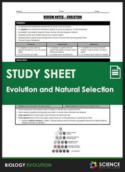 Study Sheet - Evolution and Natural Selection