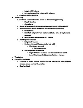 Review Sheet For Colonization of America