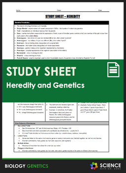 Study Sheet - Heredity and Genetics