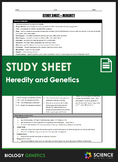 Study Sheet - Genetics and Heredity