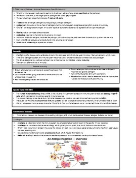 Study Sheet - Immune System and Immunology