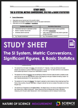 Study Sheet - The SI System, Unit Conversions, Significant
