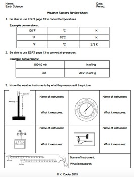 Review Sheet - Weather Factors *EDITABLE*