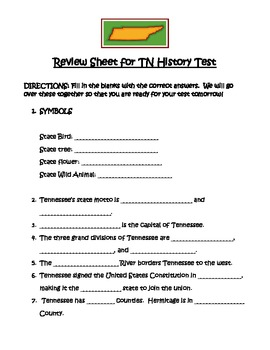 Review Sheet for Tennessee History Test
