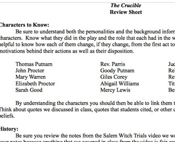 The crucible unit test teaching resources teachers pay teachers review sheet for the crucible unit test fandeluxe Images