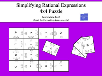 Review Simplifying Rational Expressions: 4 x 4 Puzzle