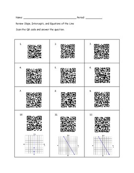 Review Slope, Intercepts, and Equations of the Line QR Code Activity