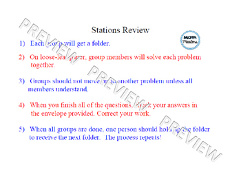 Solving Linear Equations Stations Review