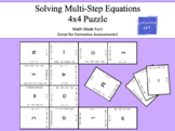 Review Solving Multi-Step Equations:  4 x 4 Puzzle