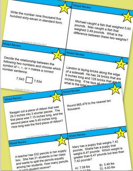 Review Task Cards for Grade 5 (NBT.A.1-4 and NBT.B.5-7)
