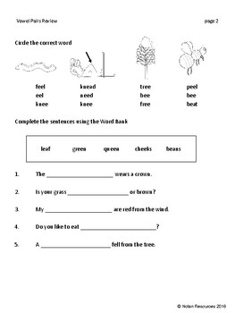 Review & Test - Vowel Pairs - AI, AY, EE, EA