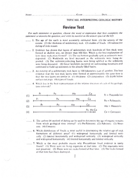 Review Test for Interpreting Geologic History