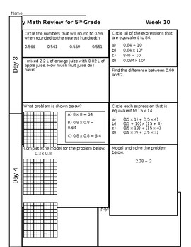 Review Weeks 10-12 and Review Quiz