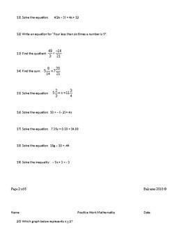 Review Work Pre Algebra
