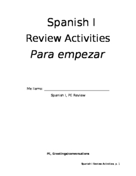Review Workbook Homework Practice from PE Realidades
