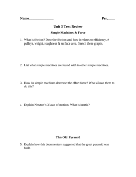 Review Worksheet for Force and Simple Machines