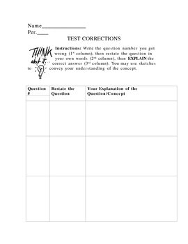 Review Worksheet for Student Test Corrections (generic)