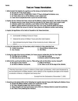 Review and Exam Texas Revolution