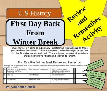 Review and Remember Activity