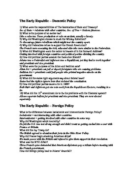 Review and Test Questions - Early Republic