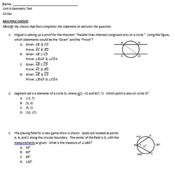 Review and Test on Circles for Geometry