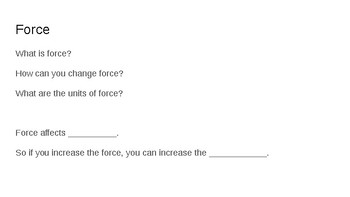 Review for Force and Motion Unit