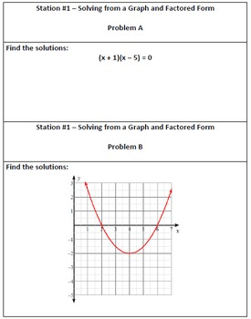 Review for Solving Quadratic Equations Unit - Stations Activity