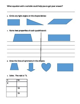 Review for Unit 2 Everyday Math Test, 4th edition