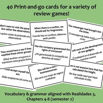 Review game cards / Realidades 3, Semester 2 (Chapters 4-8)