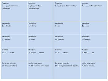 Review game for Spanish I