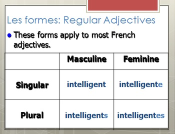 Review of Adjective Agreement