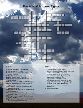 Review of Ancient Egypt - Crossword Puzzle by Karen Lawson ...