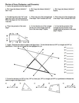 Review of Area, Perimeter and Geometry (Editable)