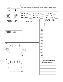 Review of Basics Math Procedures 1