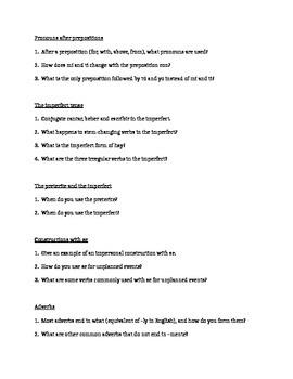 Review of Beginning Spanish 2 Handout