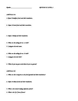 Review of Capítulo 3A/3B Realidades