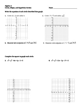 Review of Circles, Ellipses, and Hyperbolas