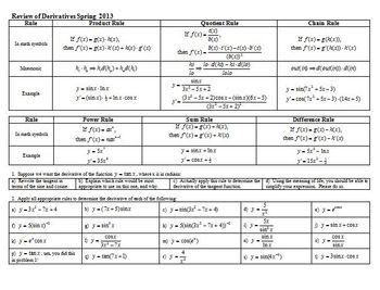Review of Derivatives Spring 2013