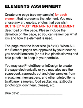 Review of Elements of Design and Assisnment Creating Each Element