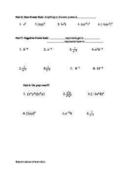 Common Core Math 1: Basic Exponent Rules Guided Notes and Worksheet