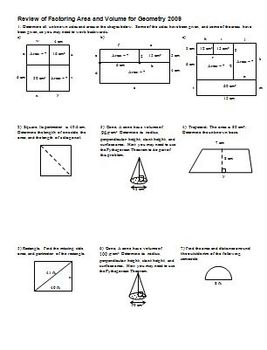 Review of Factoring Area and Volume for Geometry 2009 (Editable)